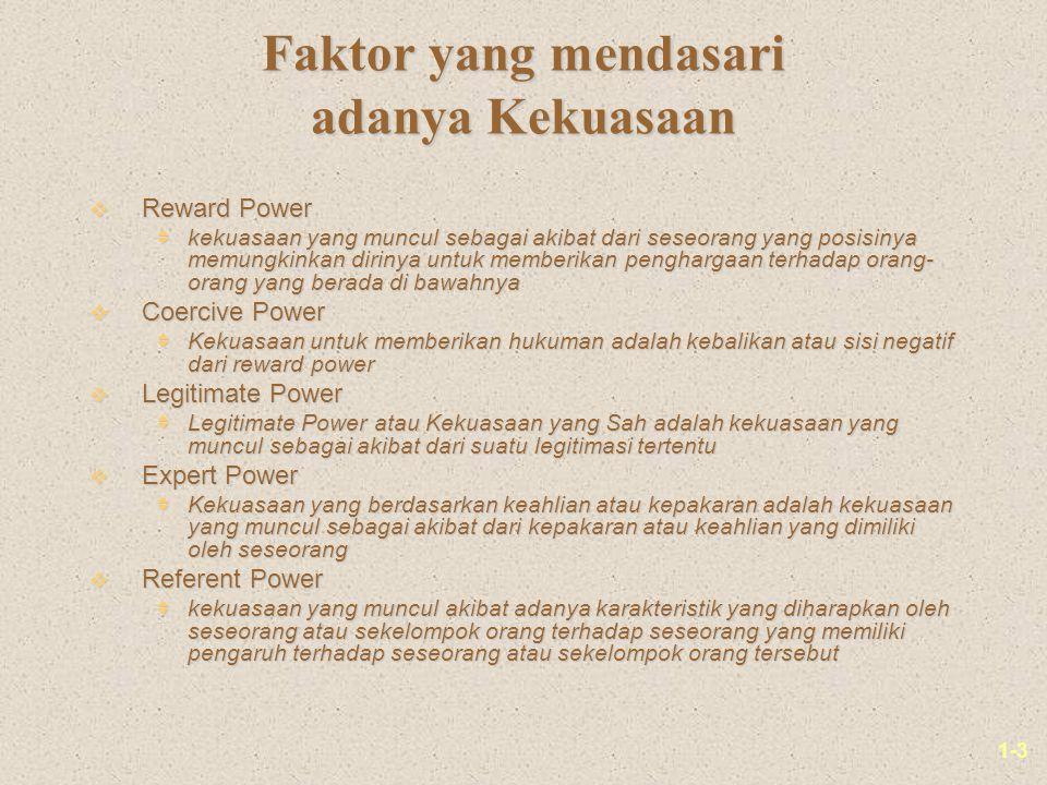 1-3 Faktor yang mendasari adanya Kekuasaan v Reward Power  kekuasaan yang muncul sebagai akibat dari seseorang yang posisinya memungkinkan dirinya un