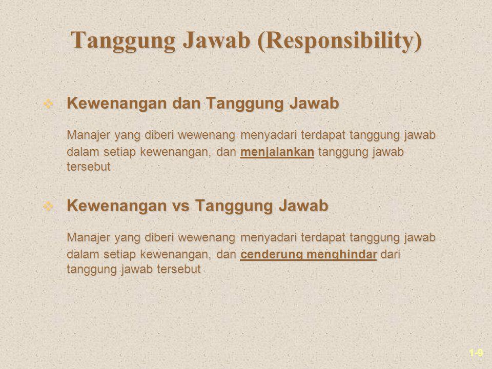 1-9 Tanggung Jawab (Responsibility) v Kewenangan dan Tanggung Jawab Manajer yang diberi wewenang menyadari terdapat tanggung jawab dalam setiap kewena