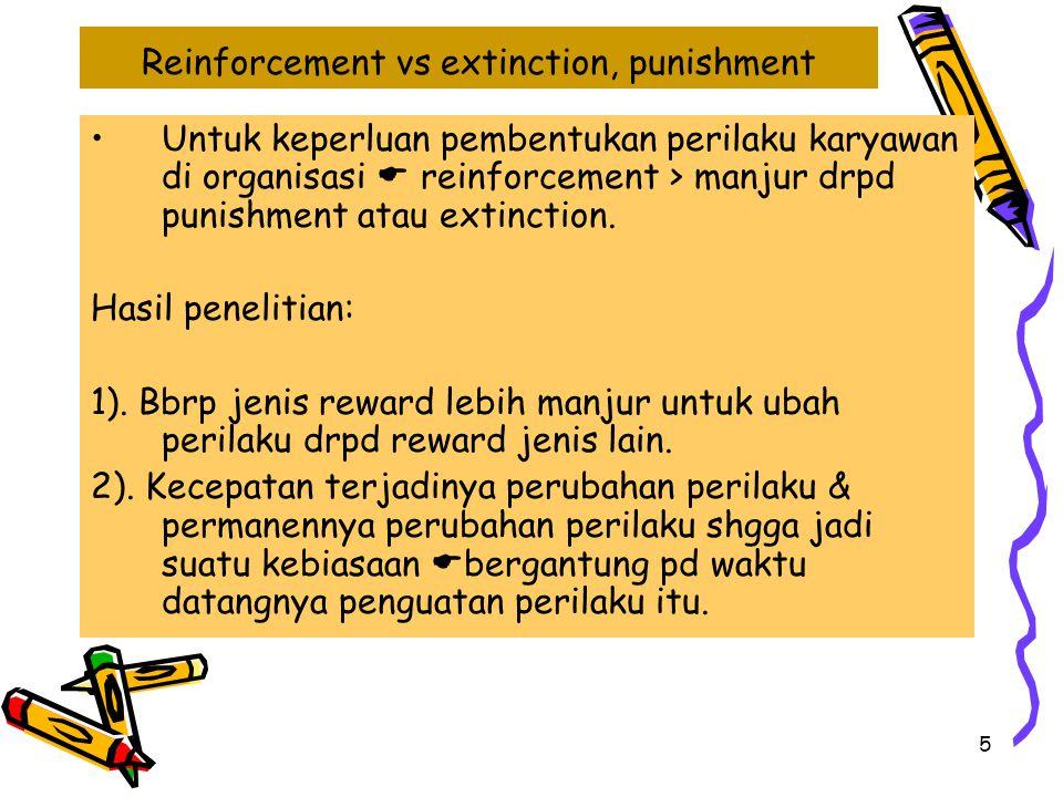 5 Reinforcement vs extinction, punishment Untuk keperluan pembentukan perilaku karyawan di organisasi  reinforcement > manjur drpd punishment atau ex