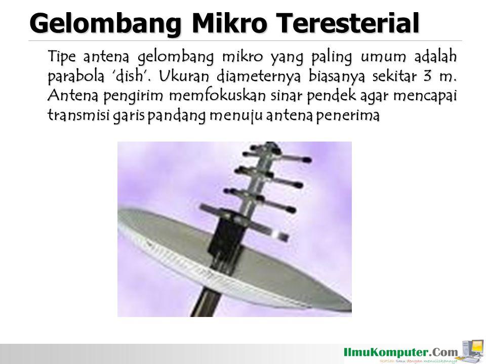 Tipe antena gelombang mikro yang paling umum adalah parabola 'dish'.