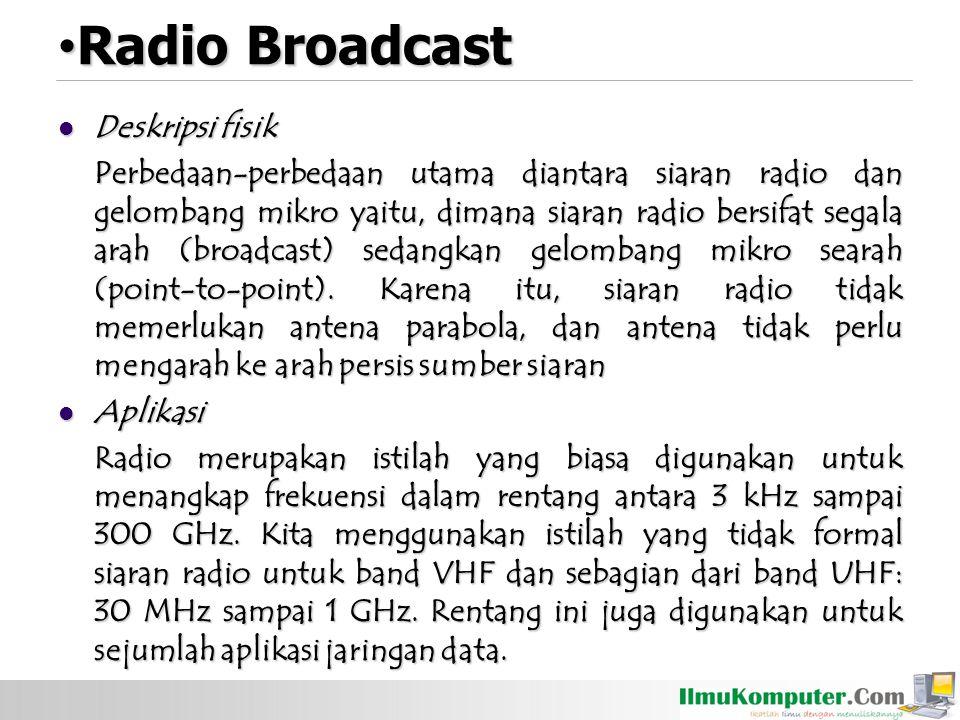 Radio Broadcast Radio Broadcast Deskripsi fisik Deskripsi fisik Perbedaan-perbedaan utama diantara siaran radio dan gelombang mikro yaitu, dimana siaran radio bersifat segala arah (broadcast) sedangkan gelombang mikro searah (point-to-point).