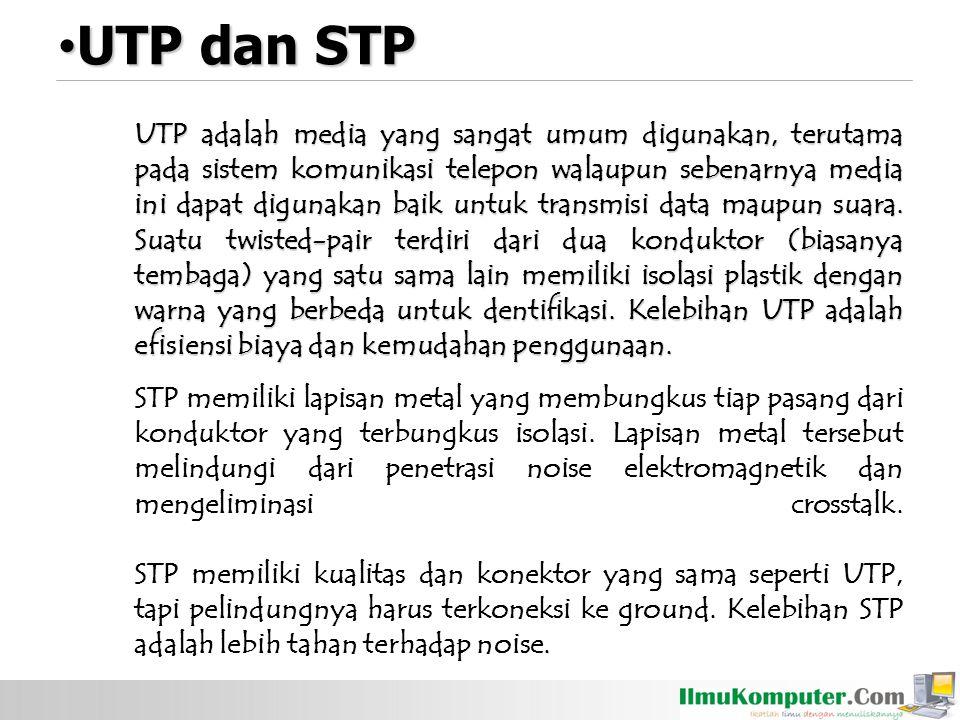 UTP adalah media yang sangat umum digunakan, terutama pada sistem komunikasi telepon walaupun sebenarnya media ini dapat digunakan baik untuk transmisi data maupun suara.