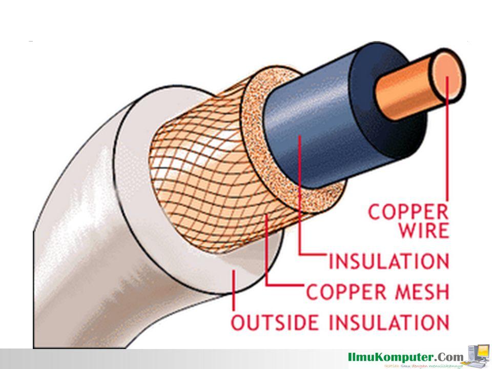 Optical fiber terbuat dari kaca atau plastik dan mentransmisikan sinyal dalam bentuk cahaya.