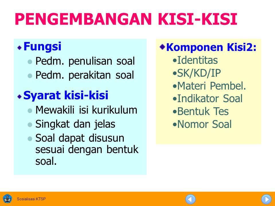 Sosialisasi KTSP PENGEMBANGAN KISI-KISI Fungsi Pedm.