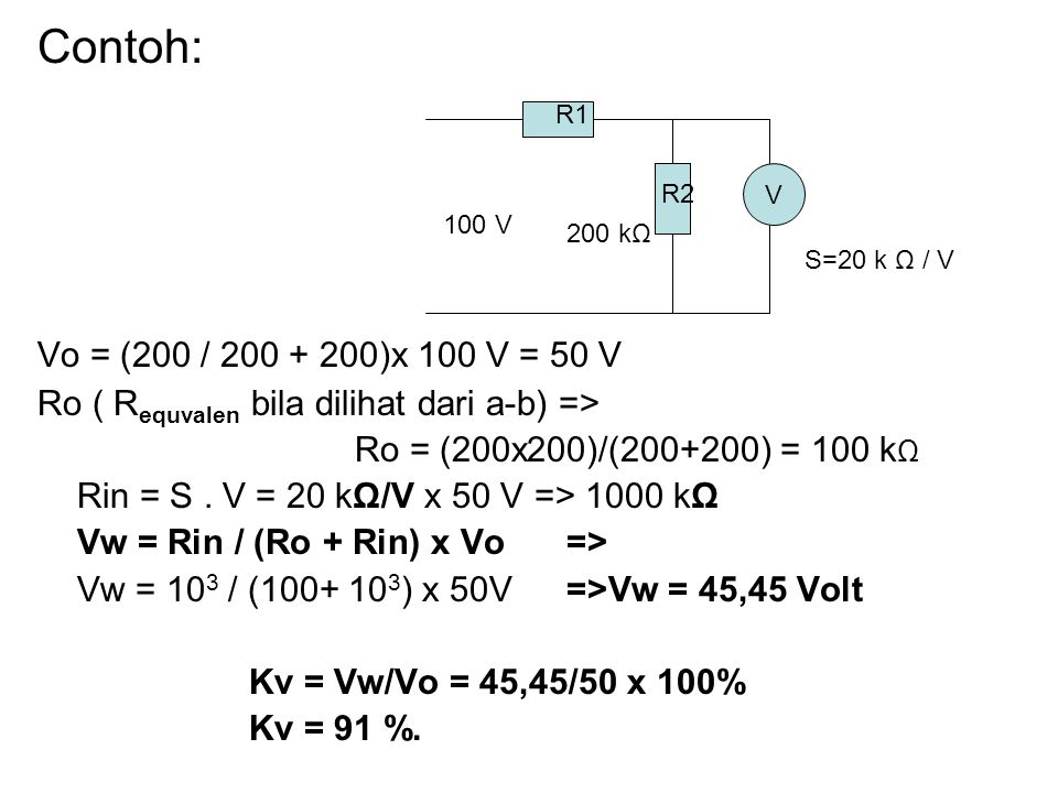 Contoh: Vo = (200 / 200 + 200)x 100 V = 50 V Ro ( R equvalen bila dilihat dari a-b) => Ro = (200x200)/(200+200) = 100 k Ω Rin = S.