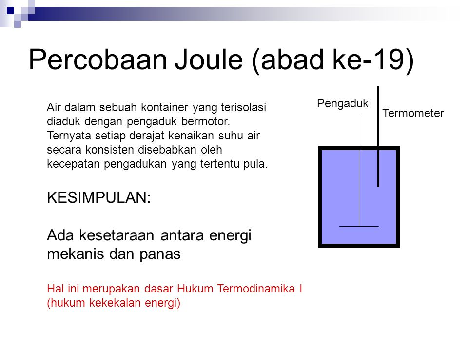 Tara kalor mekanis 1 joule = 0,24 cal 1 cal = 4,2 joule