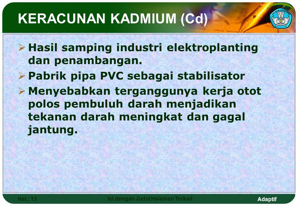 Adaptif Hal.: 13 Isi dengan Judul Halaman Terkait  Hasil samping industri elektroplanting dan penambangan.  Pabrik pipa PVC sebagai stabilisator  M
