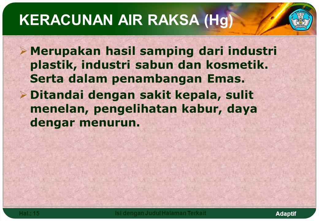 Adaptif Hal.: 15 Isi dengan Judul Halaman Terkait  Merupakan hasil samping dari industri plastik, industri sabun dan kosmetik. Serta dalam penambanga