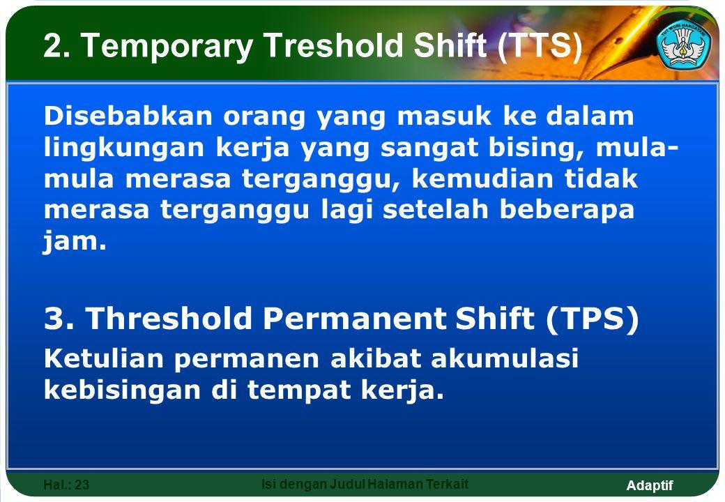 Adaptif Hal.: 23 Isi dengan Judul Halaman Terkait 2. Temporary Treshold Shift (TTS) Disebabkan orang yang masuk ke dalam lingkungan kerja yang sangat
