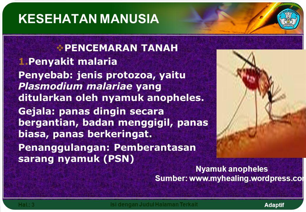 Adaptif Hal.: 3 Isi dengan Judul Halaman Terkait KESEHATAN MANUSIA  PENCEMARAN TANAH 1.Penyakit malaria Penyebab: jenis protozoa, yaitu Plasmodium ma