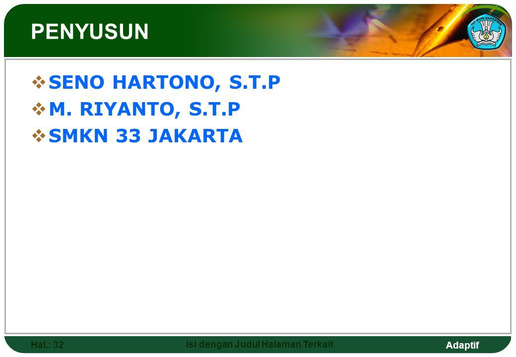 Adaptif Hal.: 32 Isi dengan Judul Halaman Terkait PENYUSUN  SENO HARTONO, S.T.P  M. RIYANTO, S.T.P  SMKN 33 JAKARTA