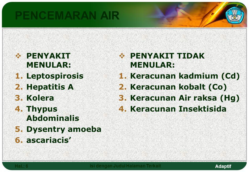 Adaptif Hal.: 6 Isi dengan Judul Halaman Terkait PENCEMARAN AIR  PENYAKIT MENULAR: 1.Leptospirosis 2.Hepatitis A 3.Kolera 4.Thypus Abdominalis 5.Dyse