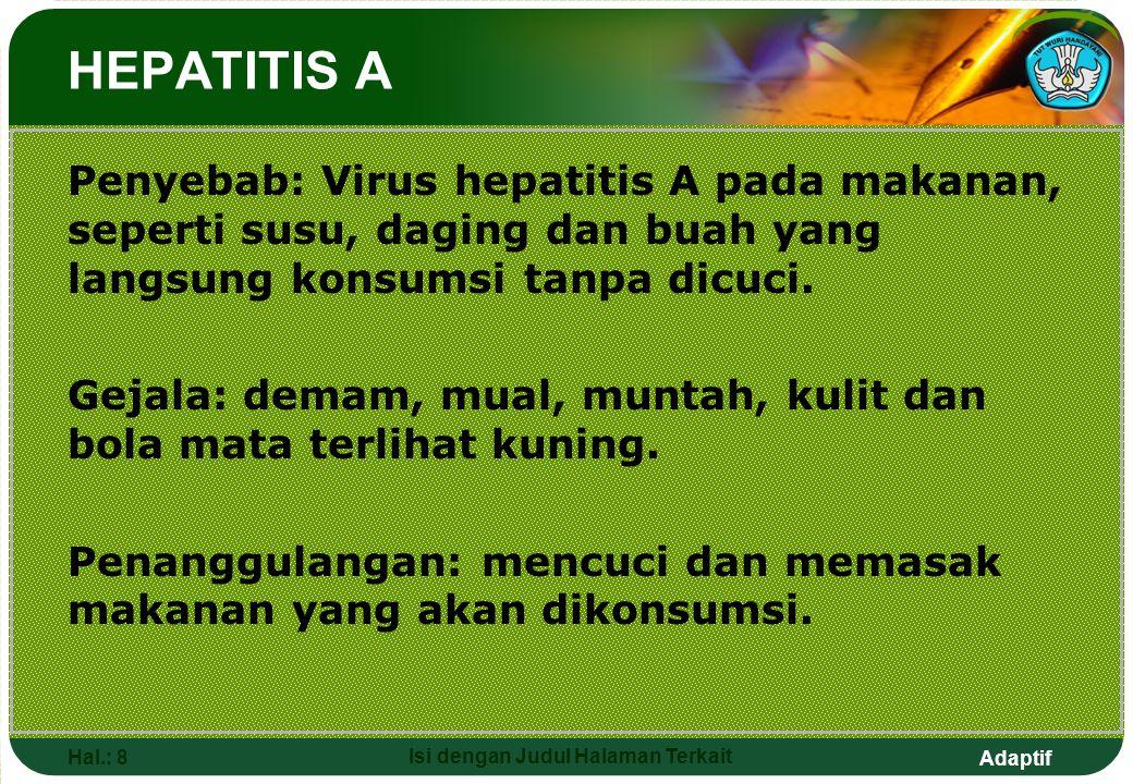 Adaptif Hal.: 8 Isi dengan Judul Halaman Terkait Penyebab: Virus hepatitis A pada makanan, seperti susu, daging dan buah yang langsung konsumsi tanpa