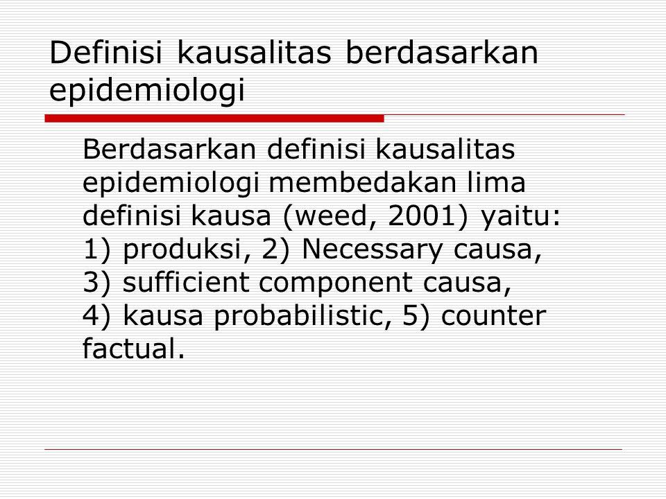 Definisi kausalitas berdasarkan epidemiologi Berdasarkan definisi kausalitas epidemiologi membedakan lima definisi kausa (weed, 2001) yaitu: 1) produksi, 2) Necessary causa, 3) sufficient component causa, 4) kausa probabilistic, 5) counter factual.