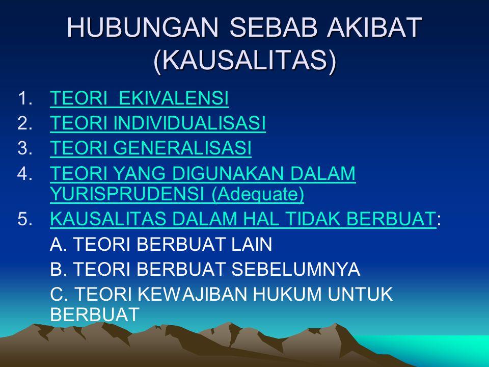 HUBUNGAN SEBAB AKIBAT (KAUSALITAS) 1.TEORI EKIVALENSITEORI EKIVALENSI 2.TEORI INDIVIDUALISASITEORI INDIVIDUALISASI 3.TEORI GENERALISASITEORI GENERALIS