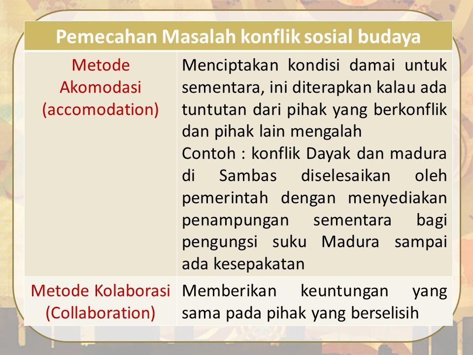 Pemecahan Masalah konflik sosial budaya Metode Akomodasi (accomodation) Menciptakan kondisi damai untuk sementara, ini diterapkan kalau ada tuntutan d