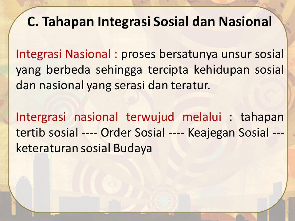 C. Tahapan Integrasi Sosial dan Nasional Integrasi Nasional : proses bersatunya unsur sosial yang berbeda sehingga tercipta kehidupan sosial dan nasio