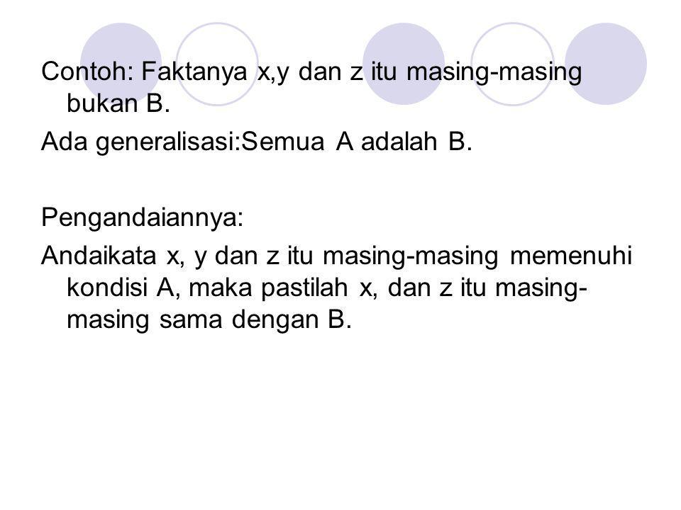 Contoh: Faktanya x,y dan z itu masing-masing bukan B. Ada generalisasi:Semua A adalah B. Pengandaiannya: Andaikata x, y dan z itu masing-masing memenu