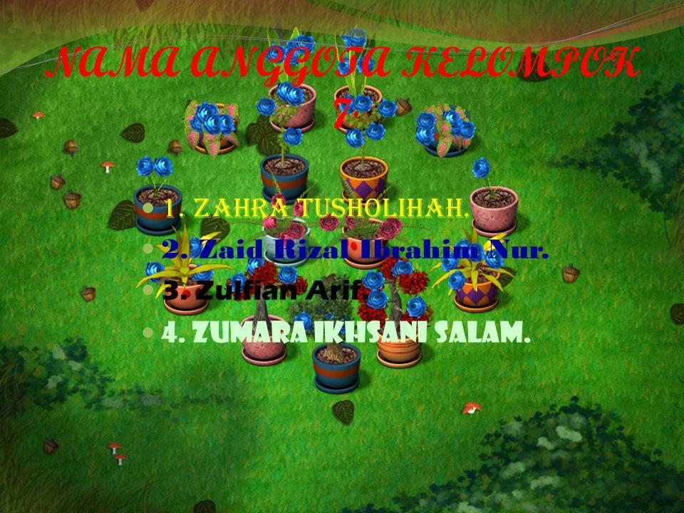 NAMA ANGGOTA KELOMPOK 7 1.Zahra Tusholihah. 2. Zaid Rizal Ibrahim Nur.