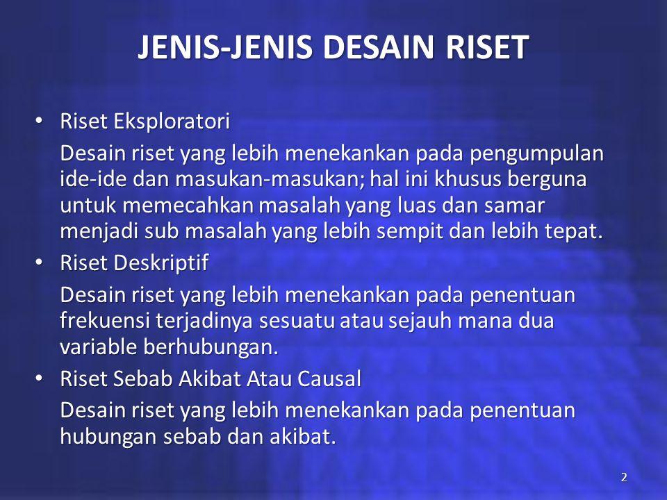 JENIS-JENIS DESAIN RISET Riset Eksploratori Riset Eksploratori Desain riset yang lebih menekankan pada pengumpulan ide-ide dan masukan-masukan; hal in