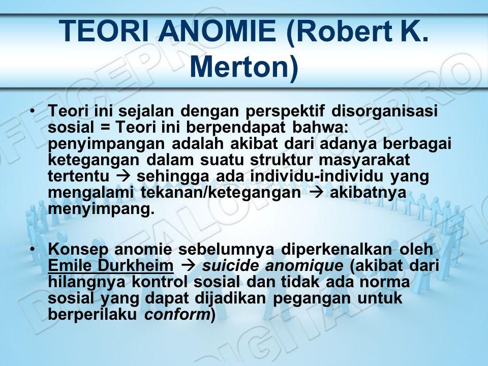 TEORI ANOMIE (Robert K. Merton) Teori ini sejalan dengan perspektif disorganisasi sosial = Teori ini berpendapat bahwa: penyimpangan adalah akibat dar
