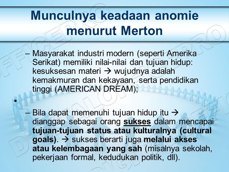 Munculnya keadaan anomie menurut Merton –Masyarakat industri modern (seperti Amerika Serikat) memiliki nilai-nilai dan tujuan hidup: kesuksesan materi