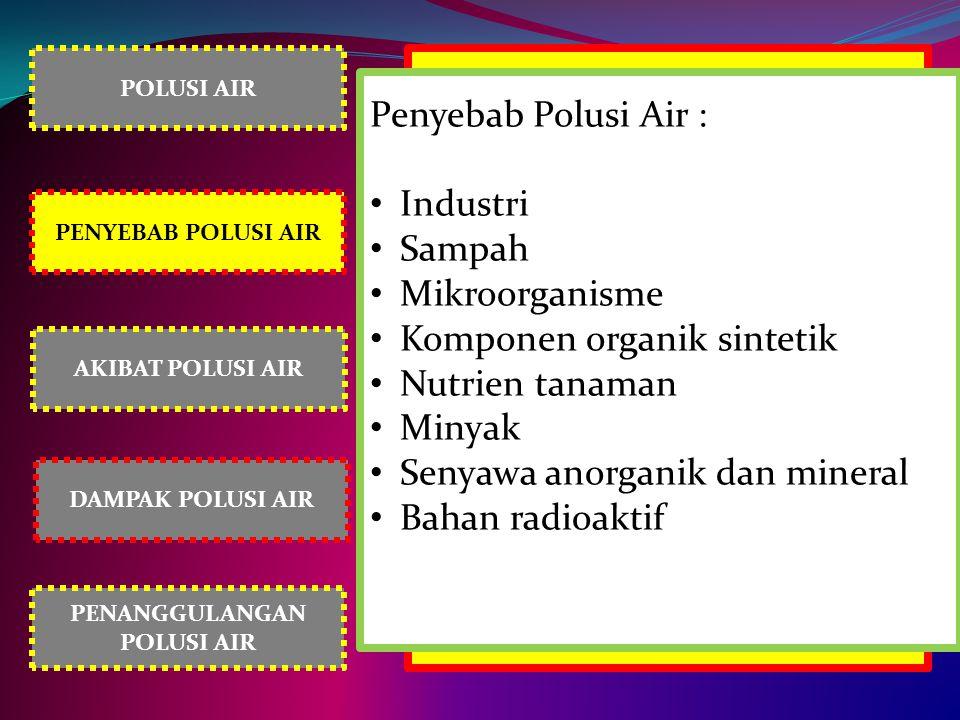 POLUSI AIR PENYEBAB POLUSI AIR AKIBAT POLUSI AIR PENANGGULANGAN POLUSI AIR DAMPAK POLUSI AIR Penyebab Polusi Air : Industri Sampah Mikroorganisme Komp