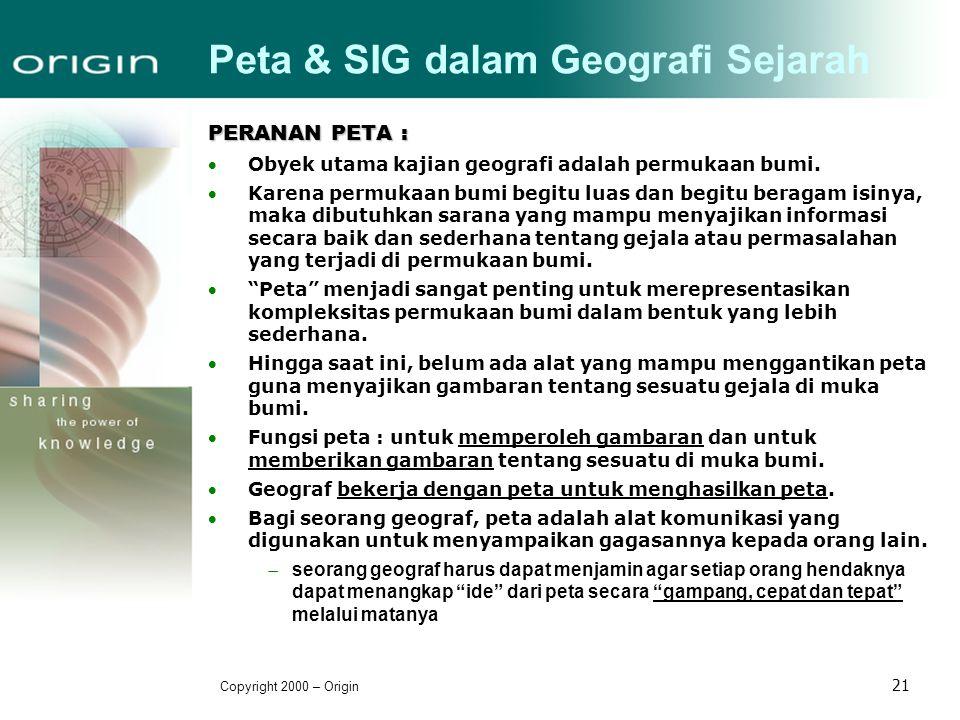 Copyright 2000 – Origin 21 Peta & SIG dalam Geografi Sejarah PERANAN PETA : Obyek utama kajian geografi adalah permukaan bumi. Karena permukaan bumi