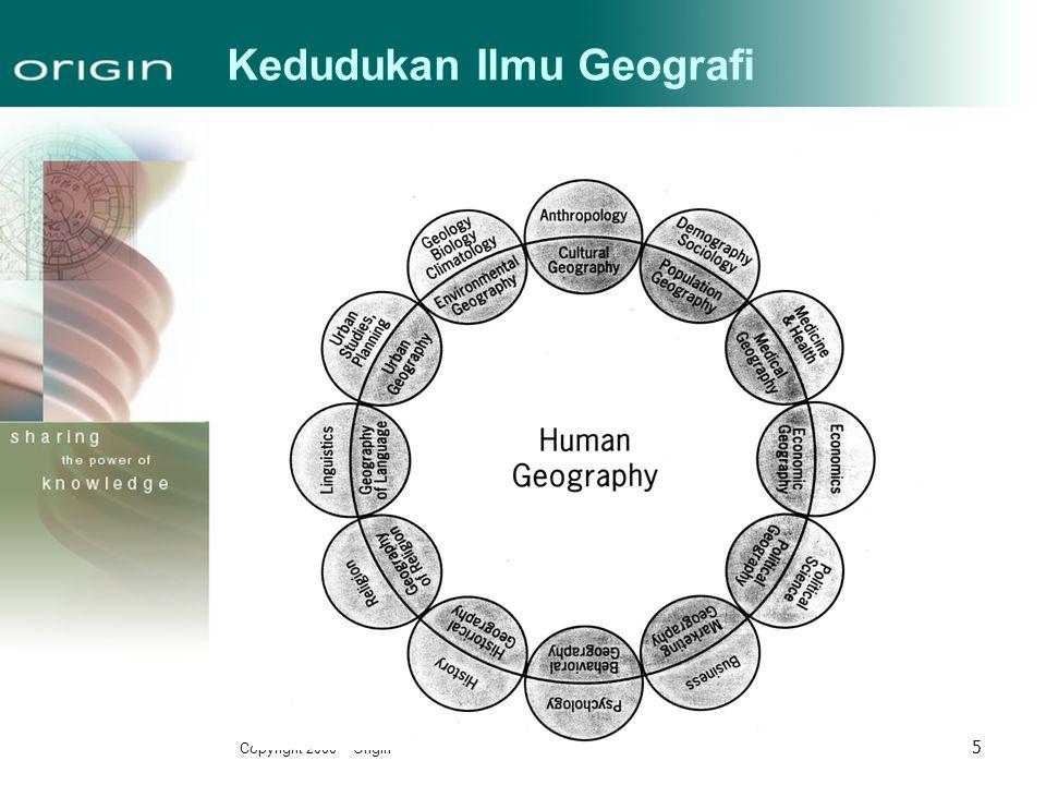 Copyright 2000 – Origin 16 Tradisi Geografi-1 Tradisi man-land relation  Mempelajari faktor penyebab dan dampak dari keterkaitan manusia- lingkungan.
