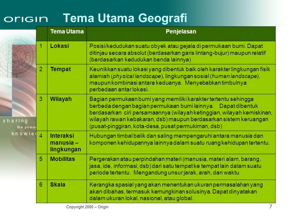 Copyright 2000 – Origin 7 Tema Utama Geografi Tema UtamaPenjelasan 1LokasiPosisi/kedudukan suatu obyek atau gejala di permukaan bumi. Dapat ditinjau s