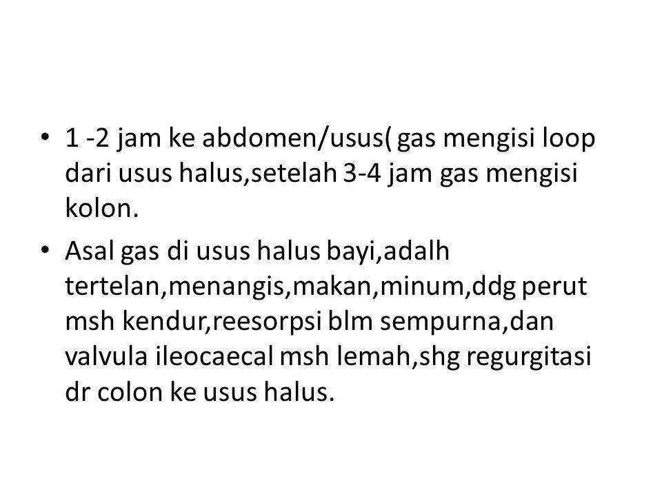1 -2 jam ke abdomen/usus( gas mengisi loop dari usus halus,setelah 3-4 jam gas mengisi kolon. Asal gas di usus halus bayi,adalh tertelan,menangis,maka