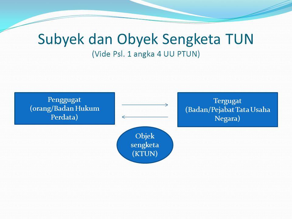 Subyek dan Obyek Sengketa TUN (Vide Psl. 1 angka 4 UU PTUN) Penggugat (orang/Badan Hukum Perdata) Tergugat (Badan/Pejabat Tata Usaha Negara) Objek sen