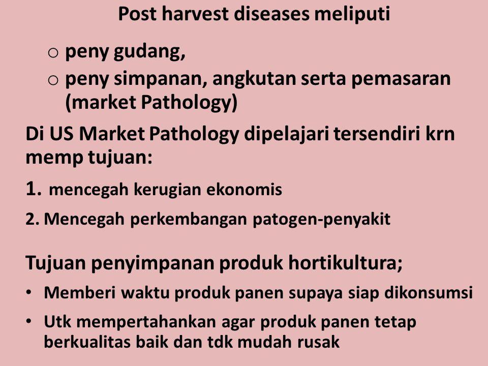 Post harvest diseases meliputi o peny gudang, o peny simpanan, angkutan serta pemasaran (market Pathology) Di US Market Pathology dipelajari tersendir