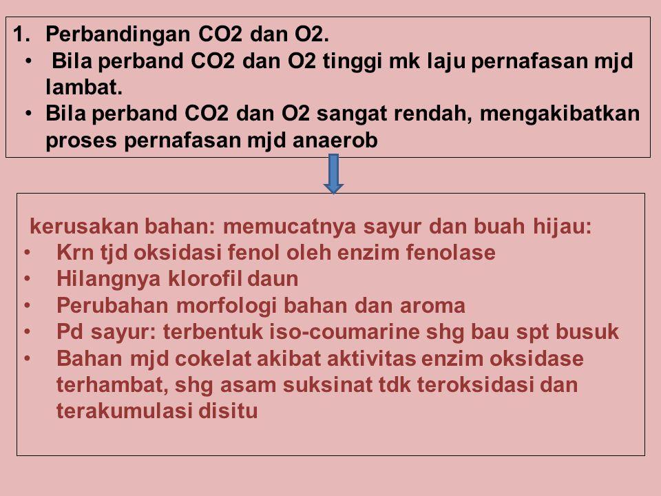 Bila perband CO2 dan O2 tinggi mk laju pernafasan mjd lambat. Bila perband CO2 dan O2 sangat rendah, mengakibatkan proses pernafasan mjd anaerob kerus