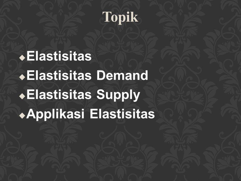 u Jika elastisitas silang positif, maka kedua barang adalah bersifat substitusi Contoh: tahu dan tempe u Jika elastisitas silang negatif, maka kedua barang adalah bersifat komplemen.