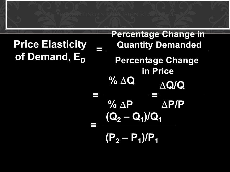 PERHITUNGAN KOEFISIEN ELASTISITAS Price Elasticity of Demand, E D = Percentage Change in Quantity Demanded Percentage Change in Price %  Q = %  P =  Q/Q  P/P = (Q 2 – Q 1 )/Q 1 (P 2 – P 1 )/P 1
