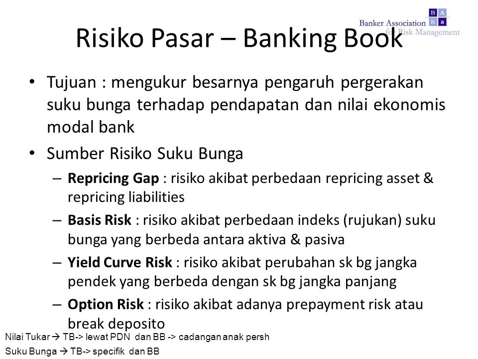 Risiko Pasar – Banking Book Tujuan : mengukur besarnya pengaruh pergerakan suku bunga terhadap pendapatan dan nilai ekonomis modal bank Sumber Risiko