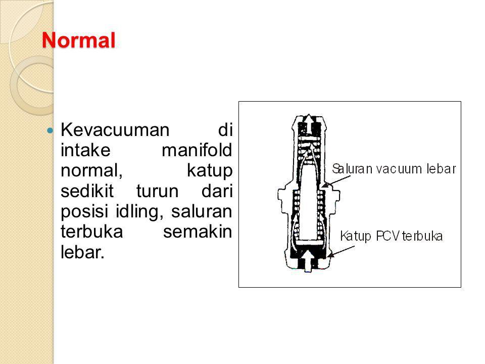 Normal Kevacuuman di intake manifold normal, katup sedikit turun dari posisi idling, saluran terbuka semakin lebar.