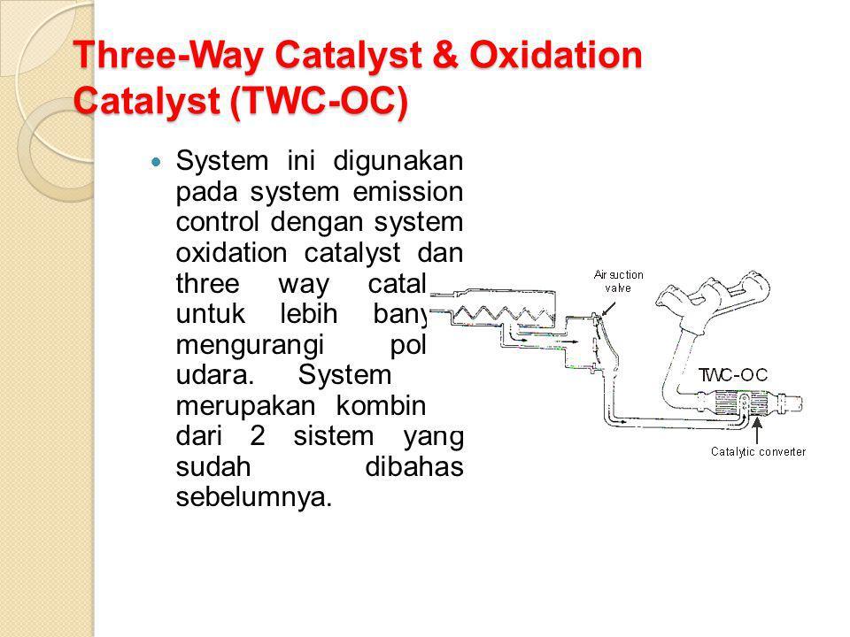 Three-Way Catalyst & Oxidation Catalyst (TWC-OC) System ini digunakan pada system emission control dengan system oxidation catalyst dan three way cata