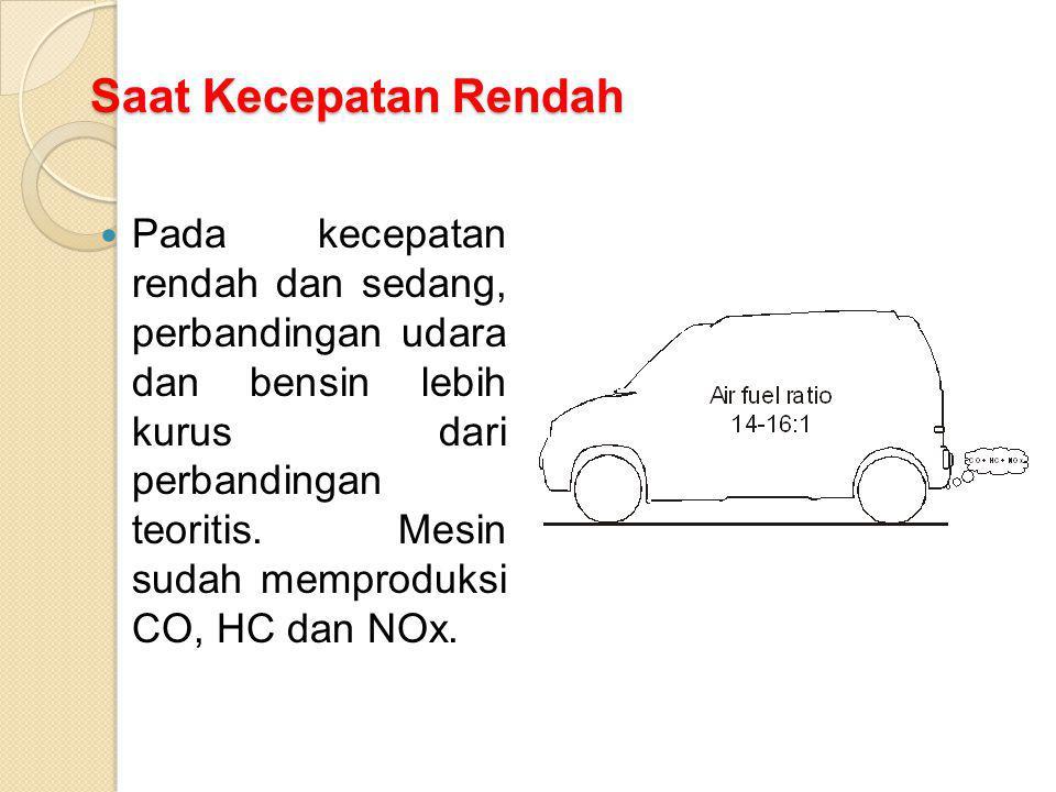 Saat Kecepatan Rendah Pada kecepatan rendah dan sedang, perbandingan udara dan bensin lebih kurus dari perbandingan teoritis. Mesin sudah memproduksi