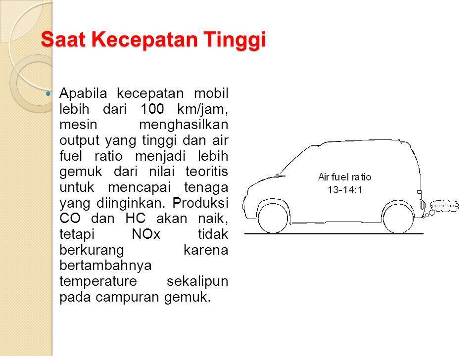Saat Kecepatan Tinggi Apabila kecepatan mobil lebih dari 100 km/jam, mesin menghasilkan output yang tinggi dan air fuel ratio menjadi lebih gemuk dari