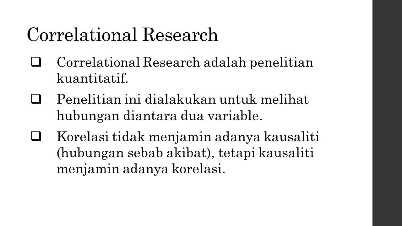 Correlational Research  Correlational Research adalah penelitian kuantitatif.  Penelitian ini dialakukan untuk melihat hubungan diantara dua variabl