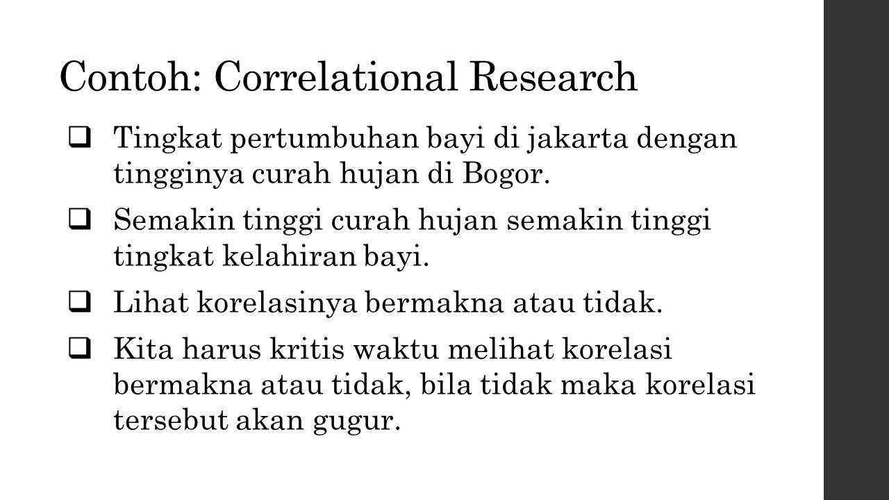 Contoh: Correlational Research  Tingkat pertumbuhan bayi di jakarta dengan tingginya curah hujan di Bogor.  Semakin tinggi curah hujan semakin tingg