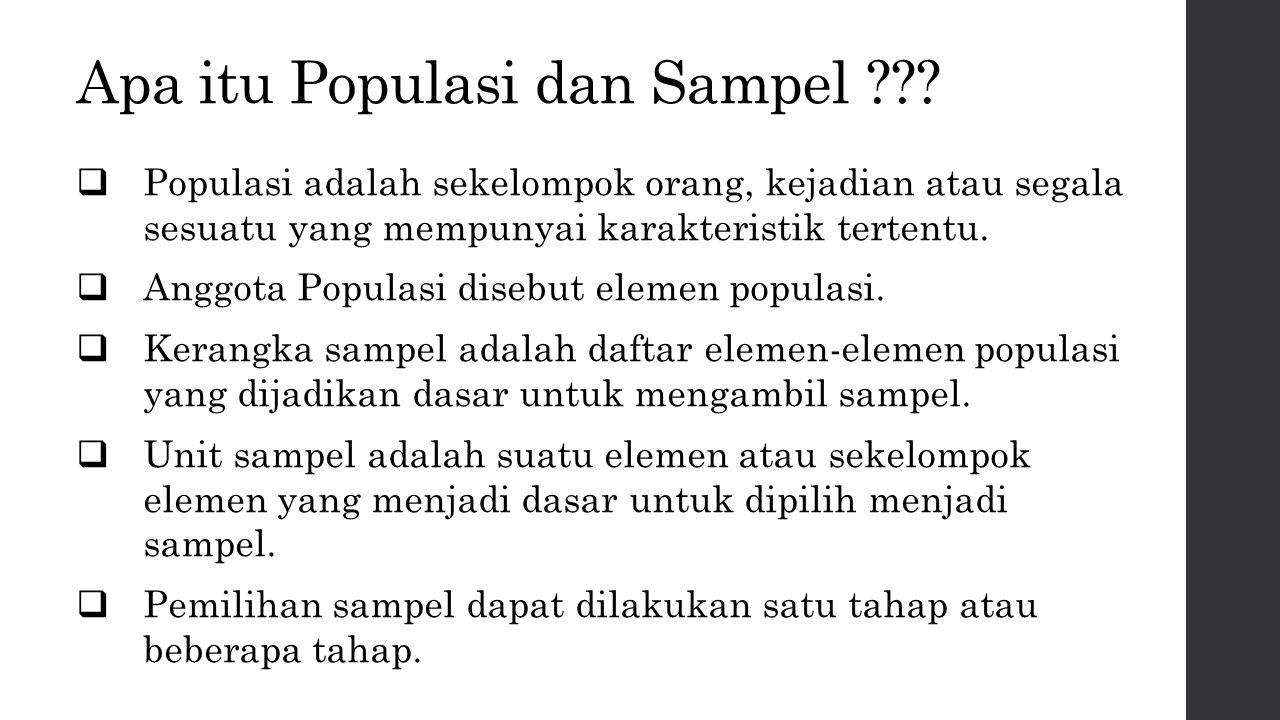 Apa itu Populasi dan Sampel ???  Populasi adalah sekelompok orang, kejadian atau segala sesuatu yang mempunyai karakteristik tertentu.  Anggota Popu