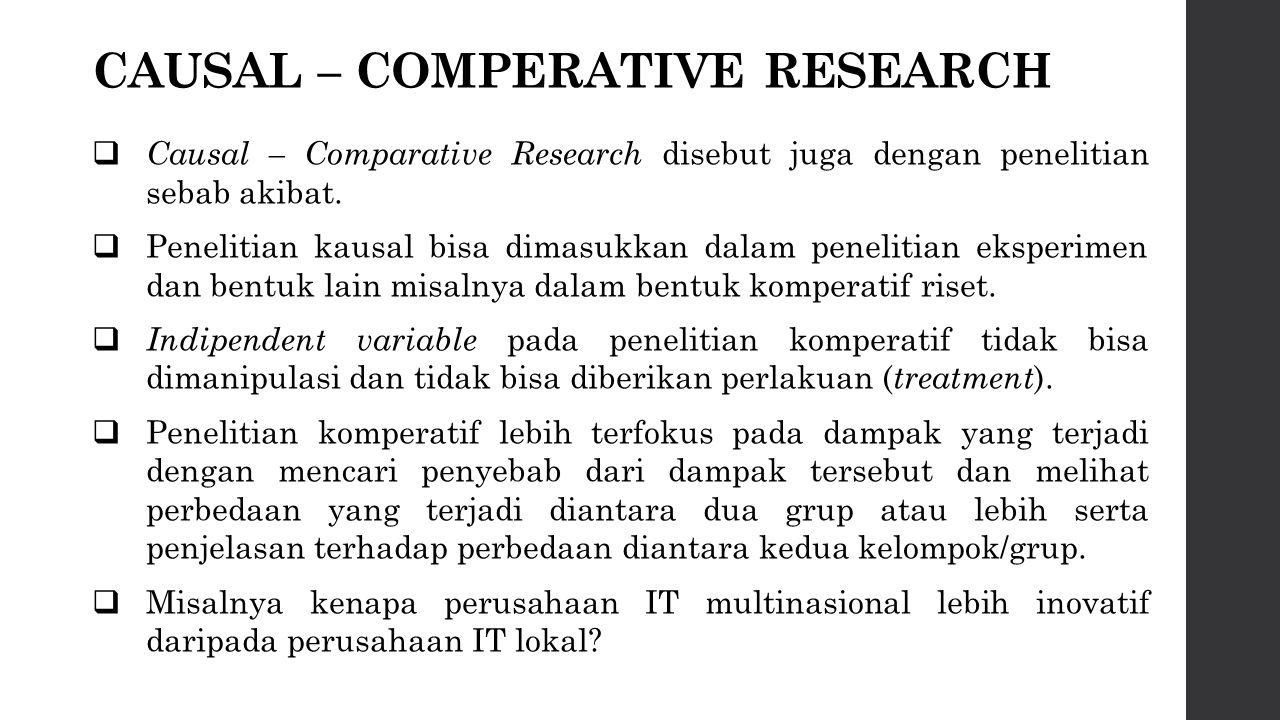 CAUSAL – COMPERATIVE RESEARCH  Causal – Comparative Research disebut juga dengan penelitian sebab akibat.  Penelitian kausal bisa dimasukkan dalam p