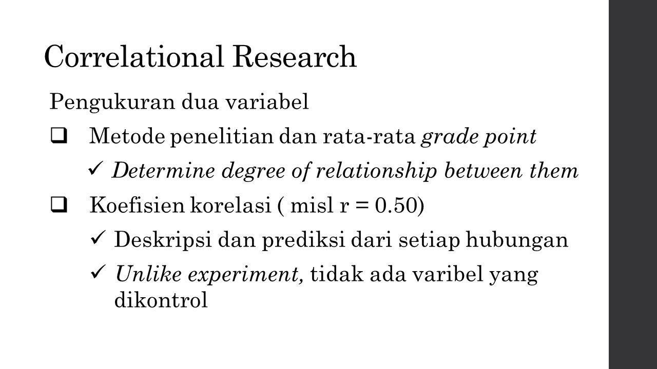 Correlational Research Pengukuran dua variabel  Metode penelitian dan rata-rata grade point Determine degree of relationship between them  Koefisien korelasi ( misl r = 0.50) Deskripsi dan prediksi dari setiap hubungan Unlike experiment, tidak ada varibel yang dikontrol