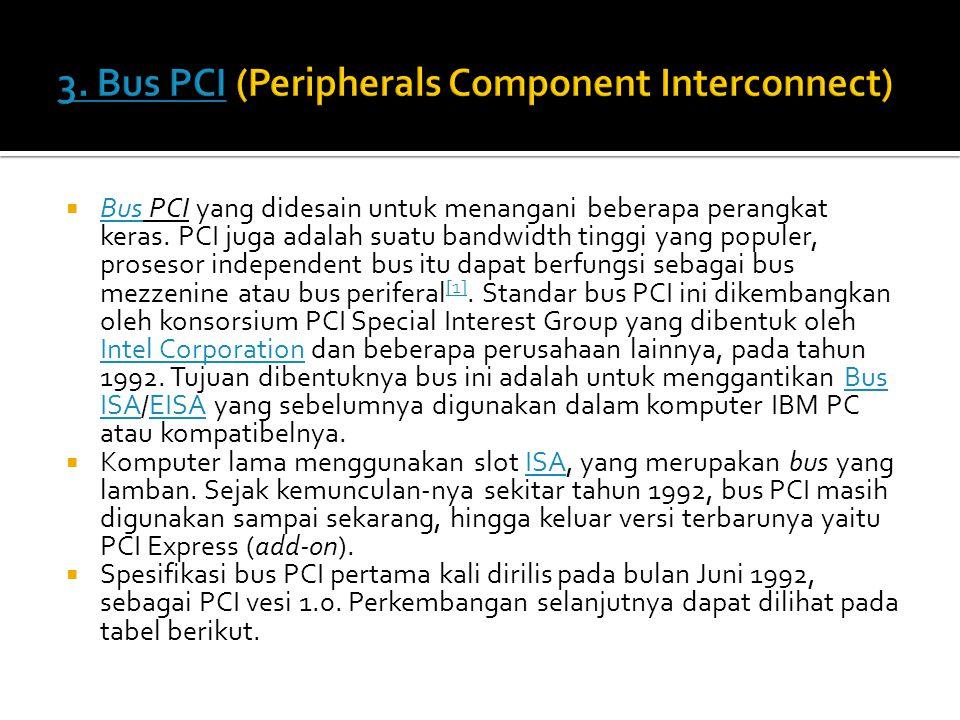  Bus PCI yang didesain untuk menangani beberapa perangkat keras. PCI juga adalah suatu bandwidth tinggi yang populer, prosesor independent bus itu da