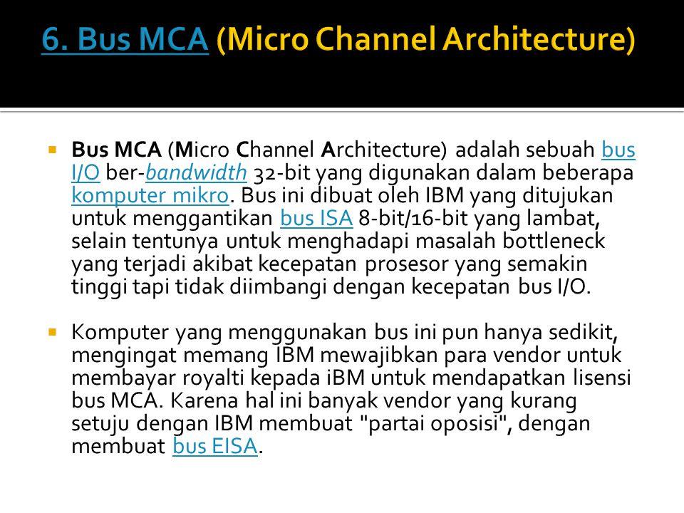  Bus MCA (Micro Channel Architecture) adalah sebuah bus I/O ber-bandwidth 32-bit yang digunakan dalam beberapa komputer mikro. Bus ini dibuat oleh IB