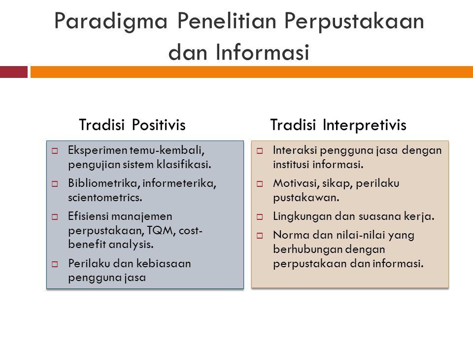 Paradigma Penelitian Perpustakaan dan Informasi  Eksperimen temu-kembali, pengujian sistem klasifikasi.  Bibliometrika, informeterika, scientometric