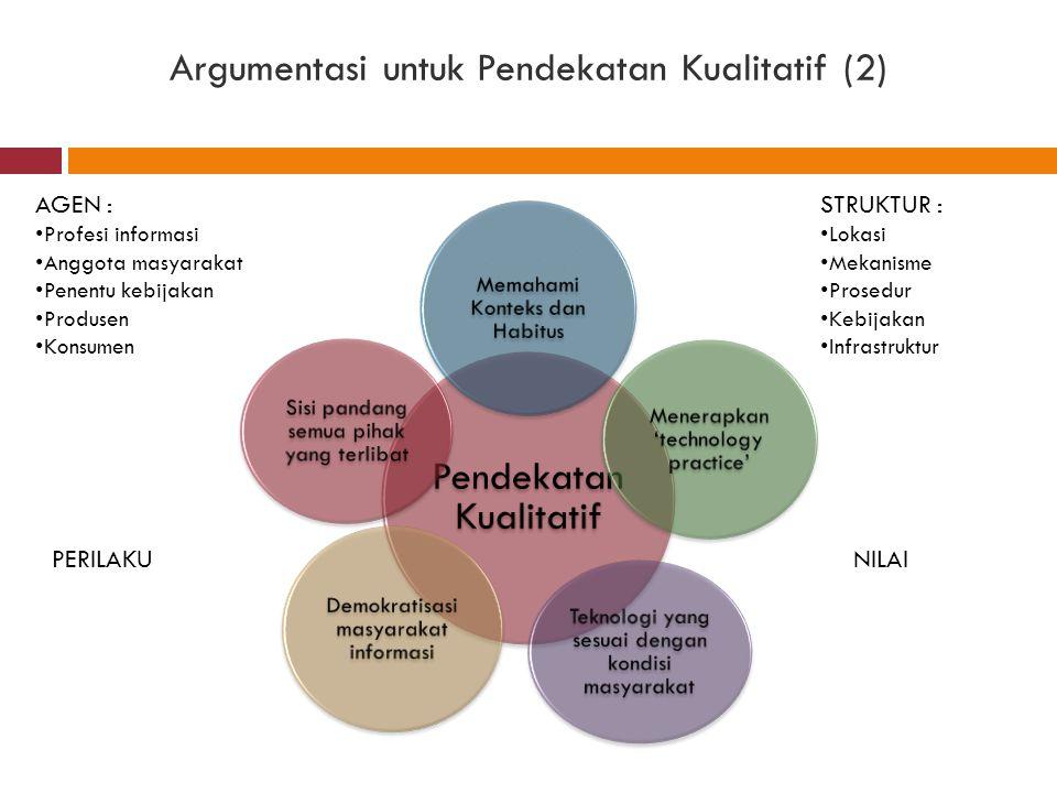 Argumentasi untuk Pendekatan Kualitatif (2) Pendekatan Kualitatif Memahami Konteks dan Habitus Menerapkan 'technology practice' Teknologi yang sesuai